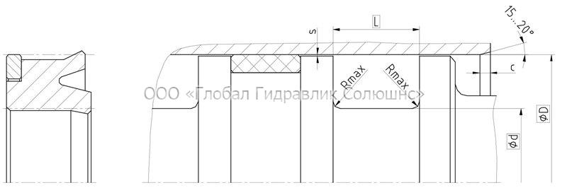 Рекомендации к размерам уплотняемых деталей K02-P