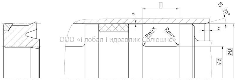 Рекомендации к размерам уплотняемых деталей K02-PD