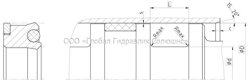 Рекомендации к размерам уплотняемых деталей K04-P