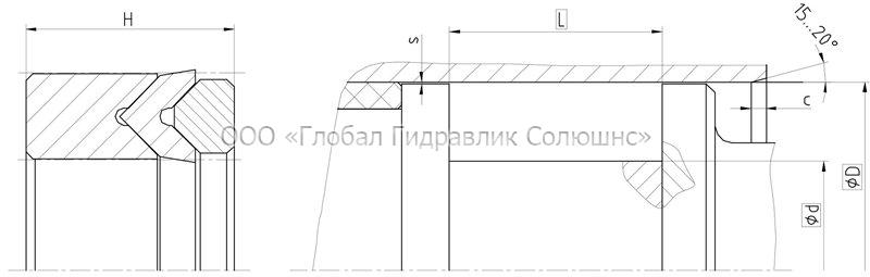 Рекомендации к размерам уплотняемых деталей K1012-M