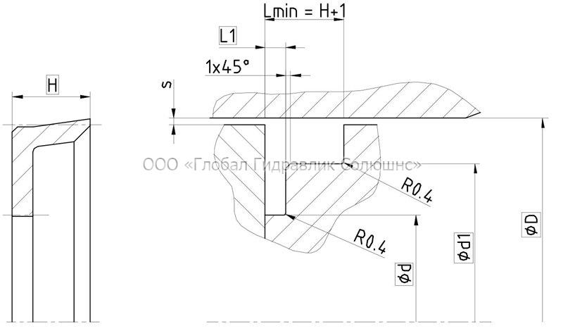 Рекомендации к размерам уплотняемых деталей K16-A