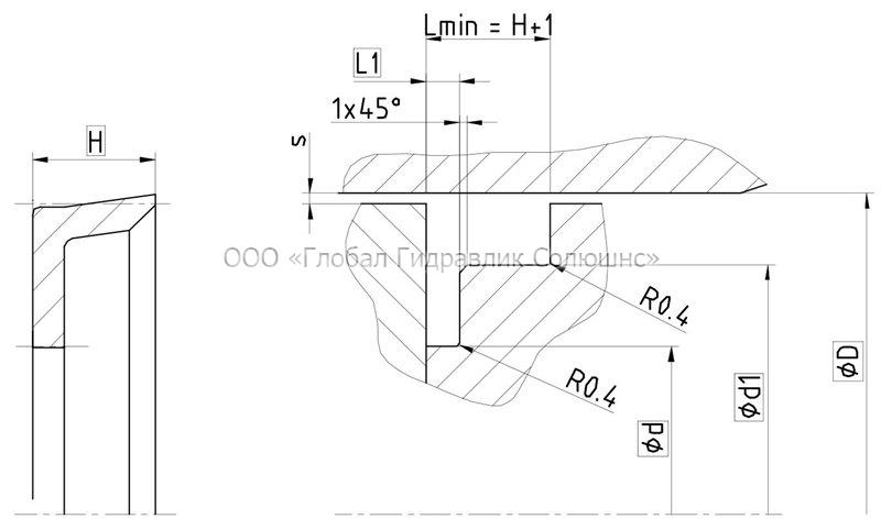 Рекомендации к размерам уплотняемых деталей K16-B