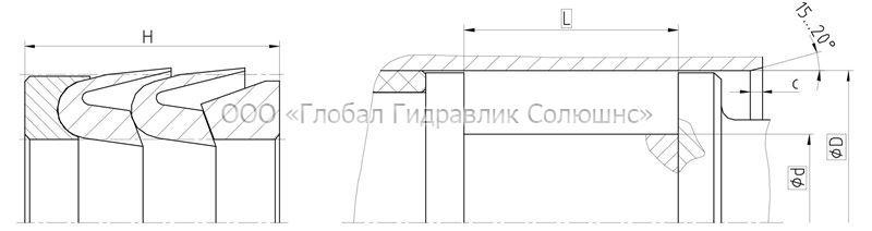 Рекомендации к размерам уплотняемых деталей K32-P