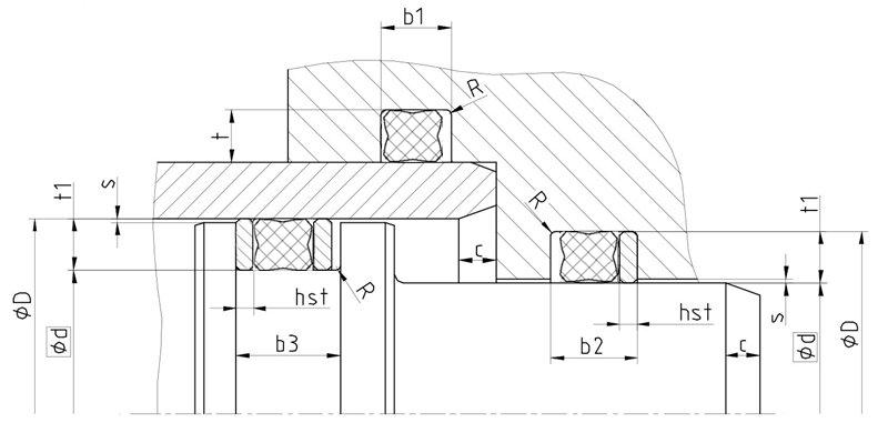Рекомендации к размерам уплотнительного кольца X-ring R16-R