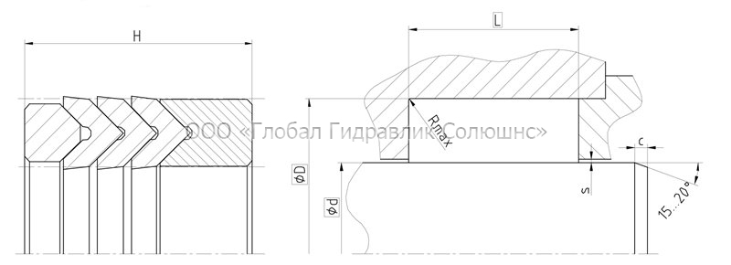 Рекомендации к размерам уплотняемых деталей S1012-M