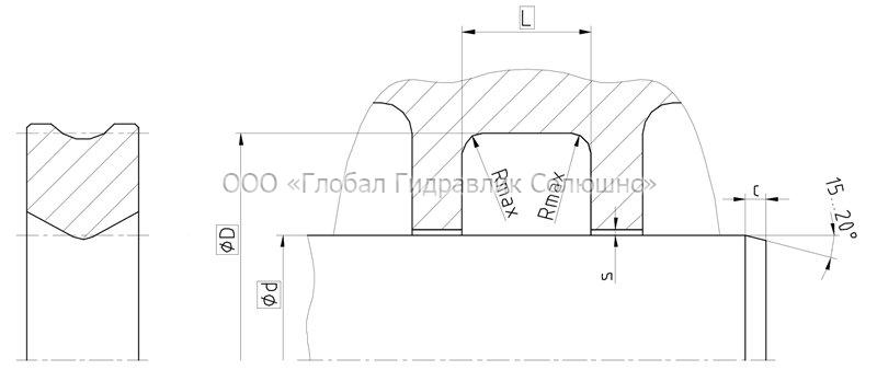 Рекомендации к размерам уплотняемых деталей S35-P