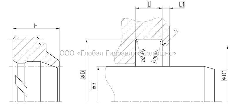 Рекомендації до розмірів ущільнювальних деталей DA101