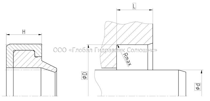 Рекомендації до розмірів ущільнювальних деталей DA103