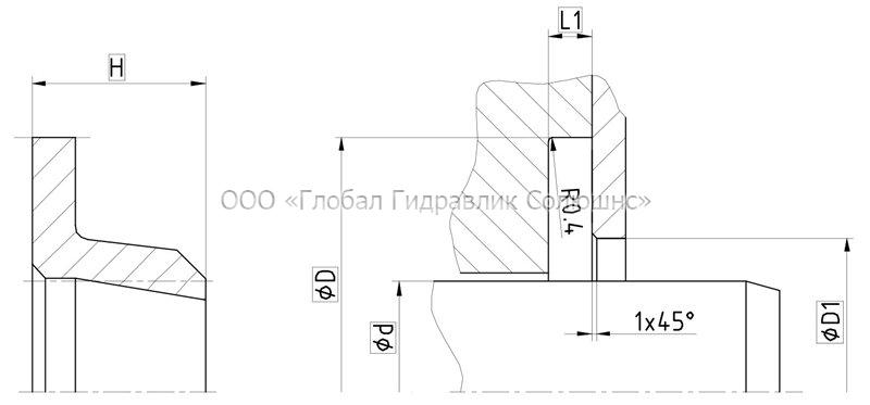 Рекомендации к размерам уплотняемых деталей A08-A